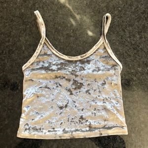 Forever 21 silver velour stretch crop cami Top M